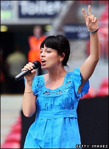Lily Allen performs at a memorial concert of Diana, Princess of Wales