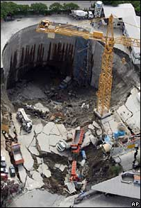 Collapsed subway station structure in Sao Paulo, Brazil
