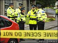 Police outside house in Houston, Renfrewshire