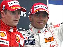 Lewis Hamilton (right) on the podium with French GP winner Kimi Raikkonen