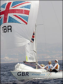 Robertson, Ayton and Webb won gold in the Yngling keelboat in Athens