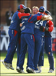 England's players celebrate the win