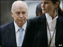 US Vice President Dick Cheney arrives for a television interview on Iraq