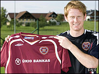Michael Stewart shows off his new Hearts kit