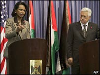 US Secretary of State Condoleezza Rice (left) and Palestinian President Mahmoud Abbas