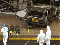 A forensic team checks the scene of the Glasgow attack