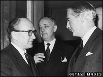 Guy Mollet and Anthony Eden with British Foreign Secretary Selwyn Lloyd in the background