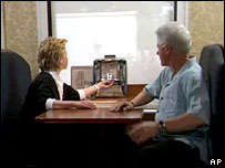 Hillary and Bill Clinton in a video parodying the final episode of The Sopranos