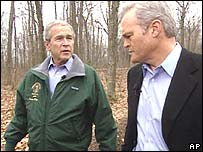 Mr Bush with CBS interviewer Scott Kelley