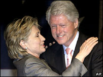 Hillary and Bill Clinton at a fundraising event in New York, April 2007