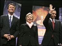 John Edwards, Hillary Clinton and Barack Obama, 4 June 2007