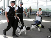 Police and sniffer dogs at Heathrow Airport
