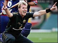 Brett Lee pictured in one-day action against England in 2007