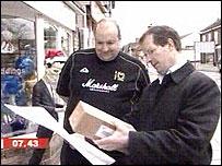 David Sillito and Fenny Stratford shopkeeper Damon le Geyt