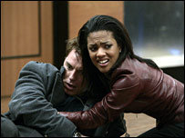 Freema Agyeman and John Barrowman in Doctor Who
