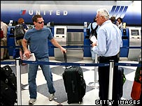 Security man question passenger