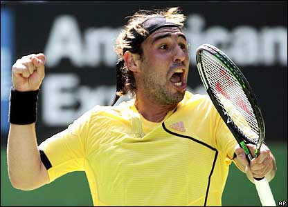 Marco Baghdatis celebrates his first-round win
