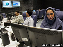 Iranian TV anchor Suzanne Modaressi  in the newsroom of Press TV