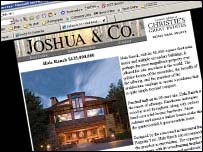Screen grab from the Joshua & Co website