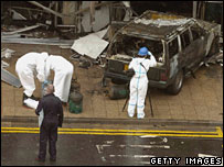 The burned-out jeep at Glasgow Airport