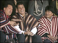 Hugo Chavez, Rafael Correa and Evo Morales at the acceptance ceremony in Zumbahua