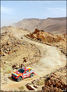 Hiroshi Masuoka's Mitsubishi on stage seven between Zouerat and Atar in Mauritania