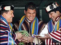 Ecuadore's President Rafael Correa with his Venezuelan and Bolivian counterparts
