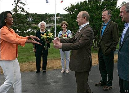 Condoleezza Rice greets Vladimir Putin