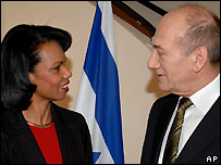 Condoleezza Rice (l) and Ehud Olmert (r)