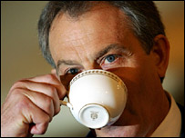 Tony Blair drinking tea