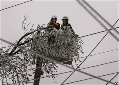Utility workers cutting branches