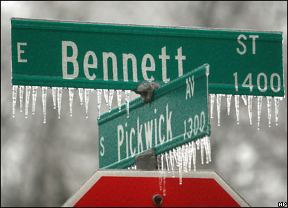 Icicles on a road sign
