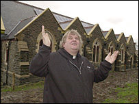 Fr David Way outside St Joseph's Church (Pic courtesy of Wales on Sunday / Western Mail)
