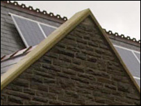 Solar panels on St Joseph's church roof (Pic courtesy of Wales on Sunday / Western Mail)