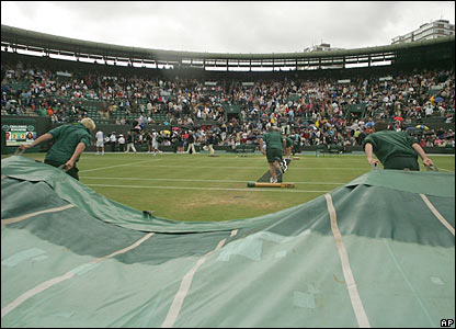The covers at Wimbledon are brought back on