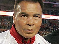 Muhammad Ali pictured at a college American football game on 2 January