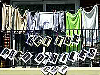 Balcony display during the Paulsgrove estate protest in 2000