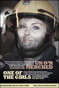 Bec Hopkins in a female firefighter recruitment poster