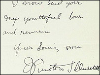 Letter written by Churchill. Courtesy Christie's Auction House