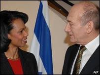 Condoleezza Rice and Ehud Olmert