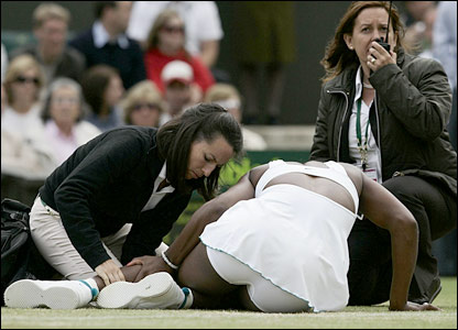 Serena Williams recieves treatment