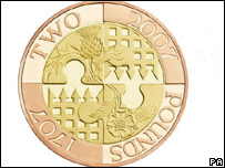 The Royal Mint's £2 coin commemorating the 300th anniversary of the Act of Union, issued on Tuesday
