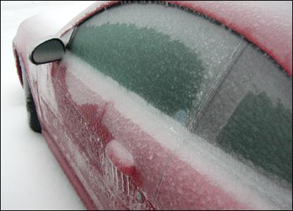 Ice covered car in Tulsa, Oklahoma