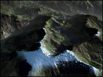 3d visualisation of Snowdon without any snow(Copyright GetMapping PLC, 2006)