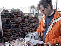 Moroccan journalist Driss Ksikes at a newsstand