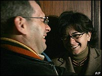 Moroccan journalists Driss Ksikes (left) and Sanaa al-Aji