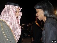 Saudi Foreign Minister Prince Saud al-Faisal greets US Secretary of State Condoleezza Rice