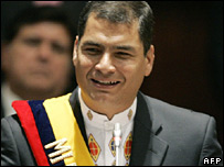 Rafael Correa speaks after being sworn in as president