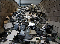 PC cases waiting to be recycled (Image: BBC)