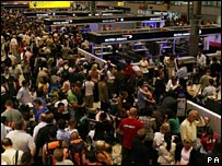 Crowds at Heathrow after last summer's major terrorist alert